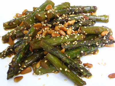 Asparagus and Oriental Tamari Dressing with Pine Nuts