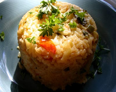 Spicy Tomato Mushroom Rice with Fresh Mint