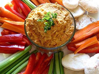 Roasted Red Pepper Hummus | Healing Cuisine by Elise