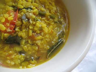 Urad Dal with Tomatoes, Spices and Coconut