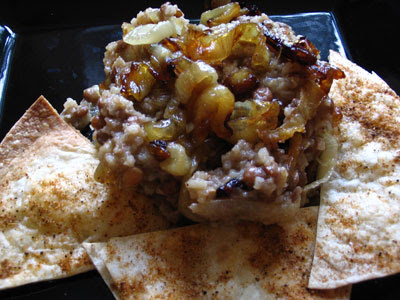 Brown Lentils and Rice with Roasted Onions and Spicy Baked Tortilla Chips