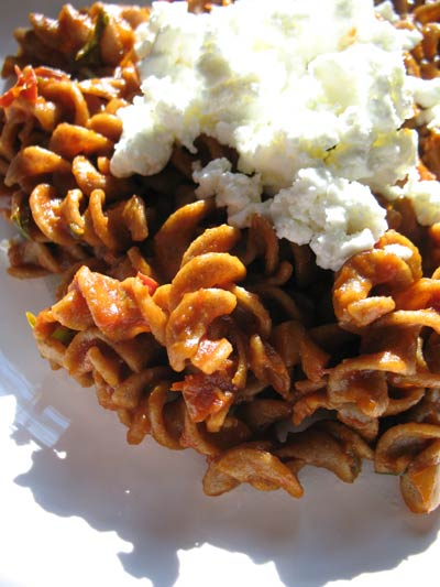 Rye Pasta with a Sun-Dried Tomato Sauce and Goat Cheese