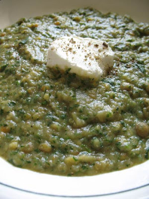 Potato Leek Soup With Watercress, Green Lentils and Fresh Goat Cheese