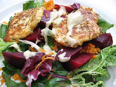 Haloumi, Beetroot and Greens Dressed with Tahini and Lemon