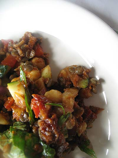 Chickpea and Lentil Salad with Zucchini and Sun-Dried Tomatoes