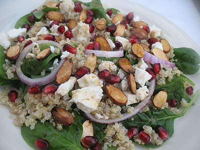 Quinoa Spinach Salad with Feta, Pomegranate and Toasted Almonds