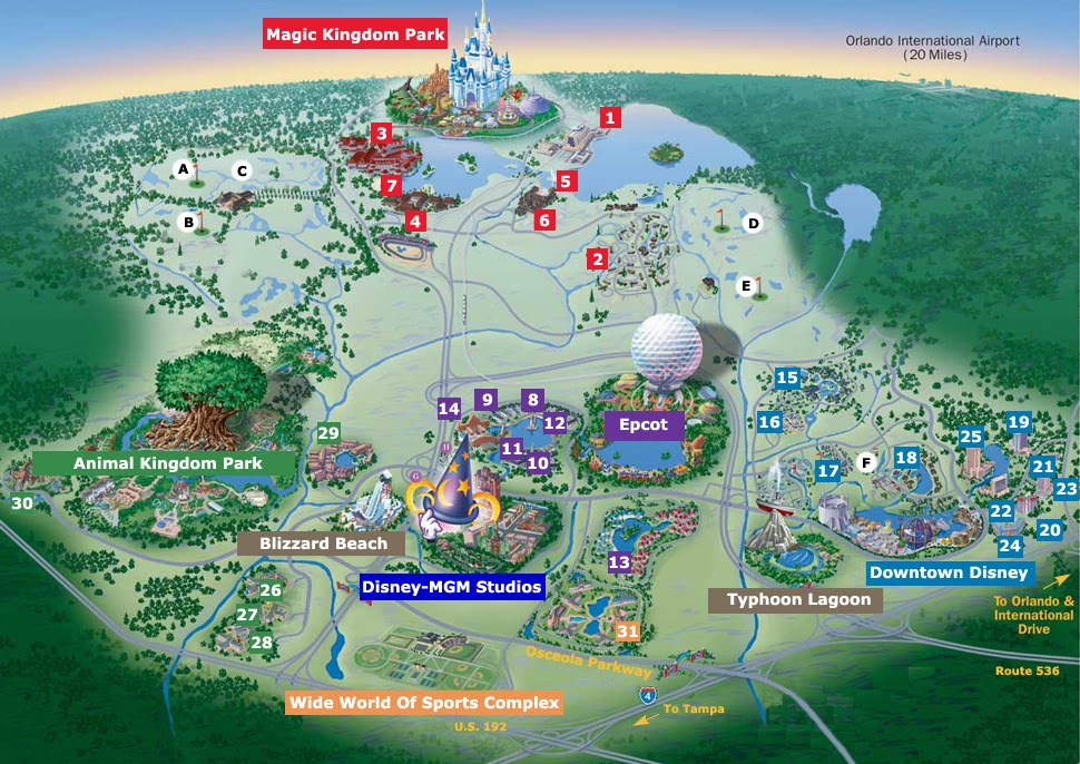 map of disney world theme parks and resorts