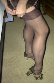 Wife putting on pantyhose