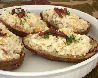 Cheesy-good twice-baked potatoes ready for the oven
