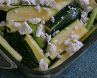 Batons of zucchini, ready for the oven