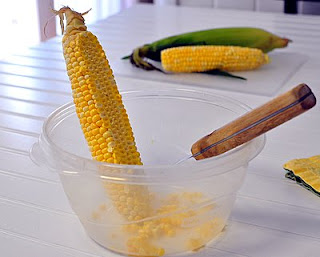 cut off a swath of kernels with a sharp knife