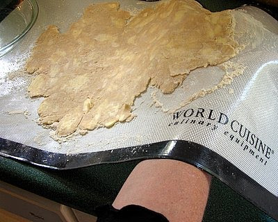 gently flip the crust dough onto the pie plate