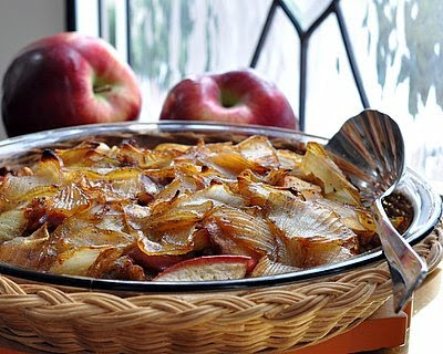 Breakfast Casserole with Sausage, Apples & Caramelized Onions