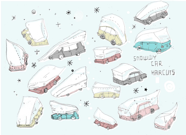 Caricature des voitures de New York sous la neige All the Buildings in New York James Gulliver Hancock
