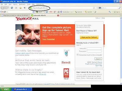 phishing yahoo page