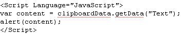 JavaScript code for retrieving clipboard text to a webpage