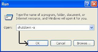 Run Command to abort shutdown process