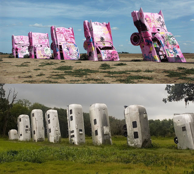 Cadillac ranch (Amarillo, Texas, USA) & Airstream ranch (Florida)