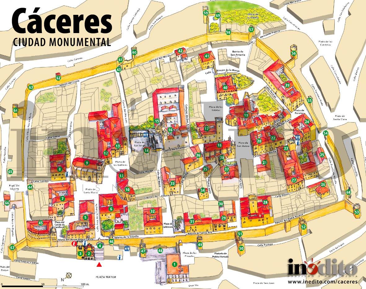 cáceres espanha mapa cristofer en lengua: PLANO DE CACERES   CitiesTips.com cáceres espanha mapa