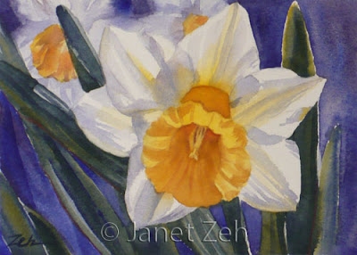 Daffodils, Narcissus Flower watercolor painting