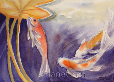 Koi in a Lily Pond watercolor painting
