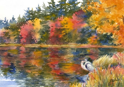 Great Blue Heron in Autumn watercolor painting