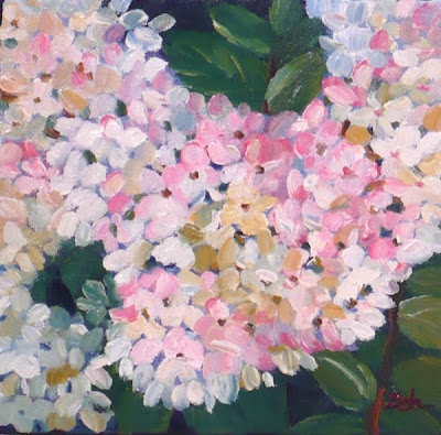 PeeGee Hydrangeas Flowers oil painting