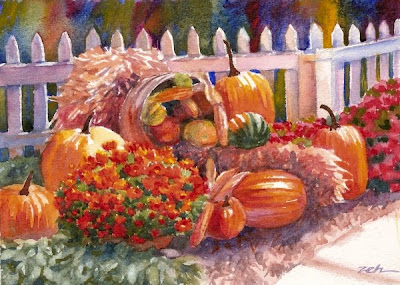 Pumpkins, Chrysanthemums watercolor by Janet Zeh