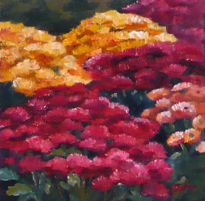 Chrysanthemums oil painting by Janet Zeh