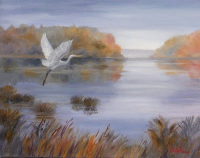 Great Egret oil painting