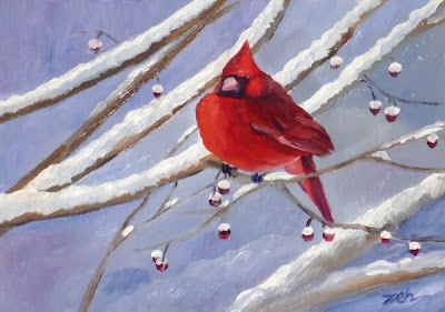 Northern Cardinal oil painting