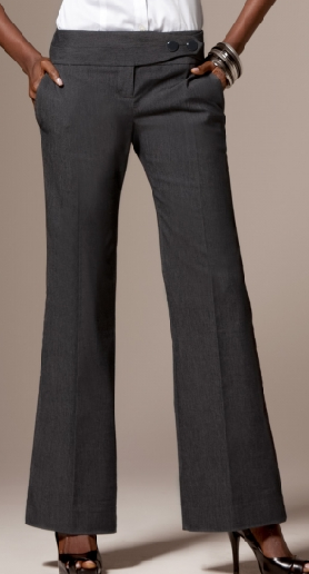 Flare Hem Trousers And Flat Shoes