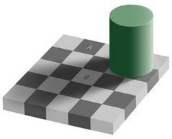An optical illusion. Square A is exactly the same shade of grey as square B.