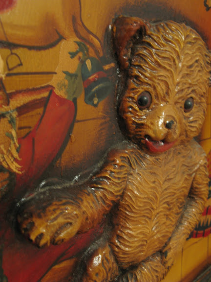 Pinocchio Toy Room carved bear old sign in a kid's playroom | funkyjunkinteriors.net