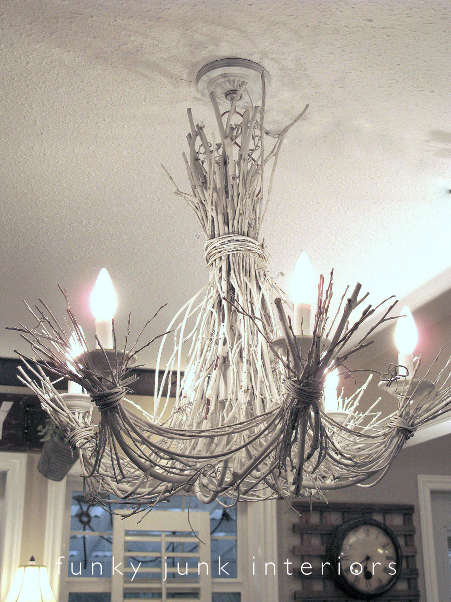 White Twig Chandelier From Willow Branches And Grapevines