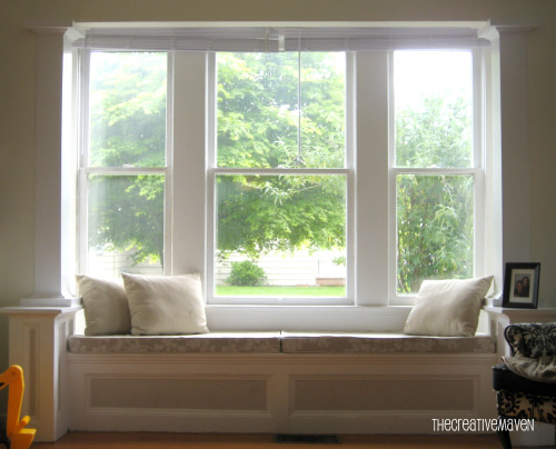 Window seat cushions casual cottage for Living room picture window ideas