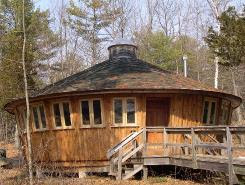 Brown wood yurt