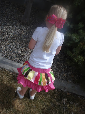 backside of ribbon skirt (includes pattern and how to make the ribbon fabric)