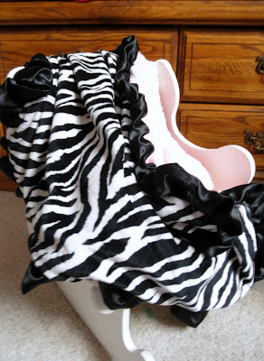zebra minky pink cloud minkee fabric baby blanket with ruffle black and white and pink