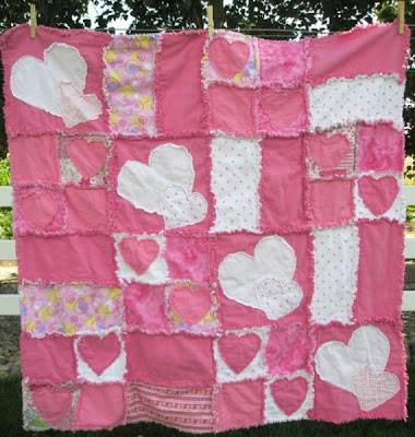 heart applique rag quilt pattern by A Vision to Remember