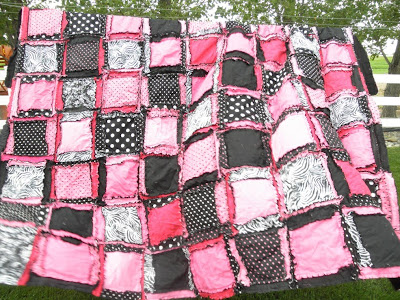 Rockstar queen size rag quilt comes in pink, black, zebra, and white, polka dots