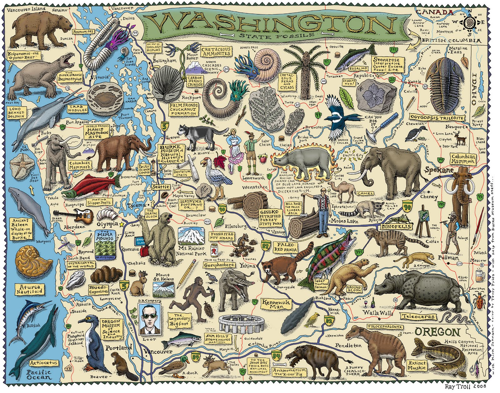THE BIRDBOOKER REPORT  Washington State Fossils Map I just came across this poster  Washington State Fossils Map  by Ray Troll   It is available from the UW Burke Museum  UW Bookstore  Metsker Maps in  Pike