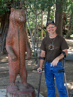 Jimmy checking wooden bear for Cindy