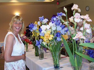 Cindy viewing flowers at Iris Festival
