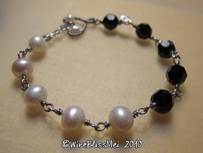 Day and Night Themed Wire Wrapped Bracelet - Pearl and 8mm black Swarovski Crystal