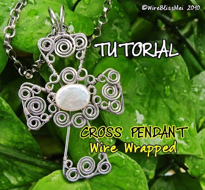 Swirly Wire Wrapped Cross Pendant Tutorial- $8.00