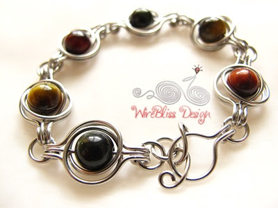 Twice Around the World Wire Wrapped Bracelet - 3 color tiger eyes