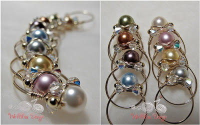 A bunch of Wire Wrapped Sparkly Swarovski Pearl Rings