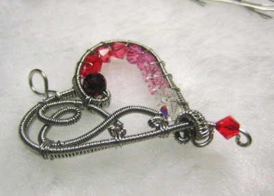 stainless steel wire woven heart with Swarovski Crystal