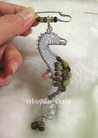 wire wrapped seahorse pendant